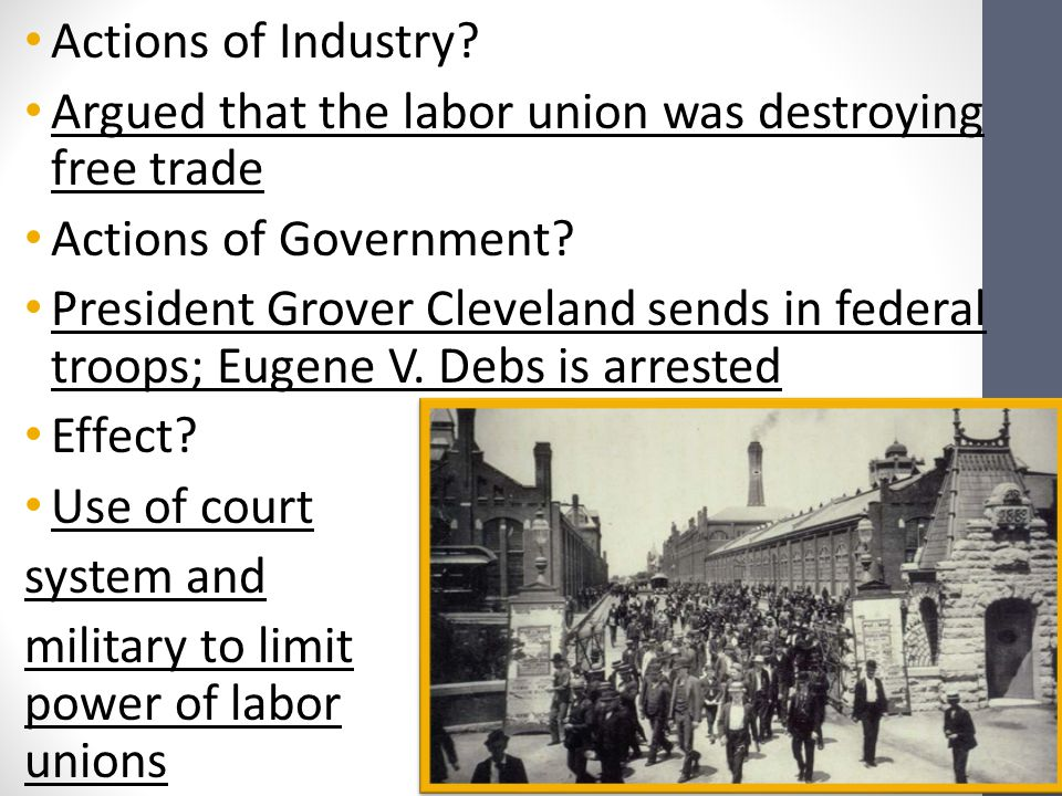 Actions of Industry Argued that the labor union was destroying free trade. Actions of Government
