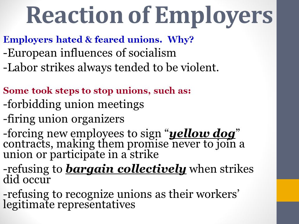 Reaction of Employers -European influences of socialism
