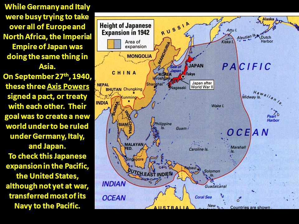 While Germany and Italy were busy trying to take over all of Europe and North Africa, the Imperial Empire of Japan was doing the same thing in Asia.