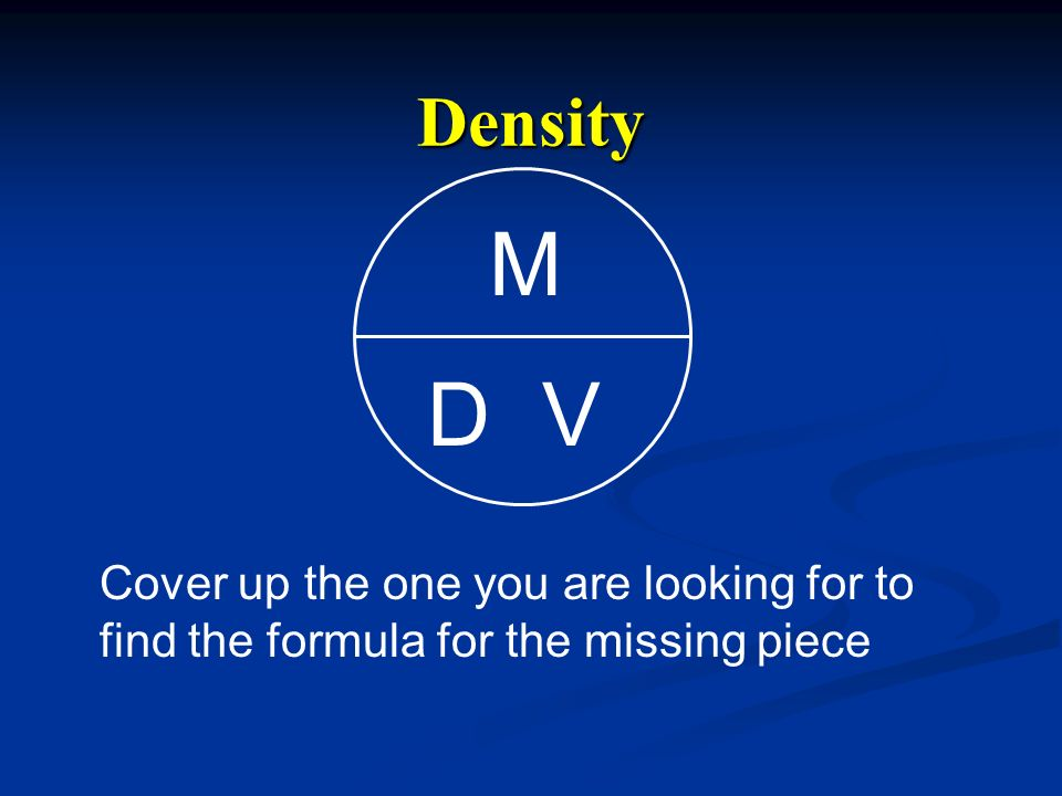 Density D M V Cover up the one you are looking for to find the formula for the missing piece