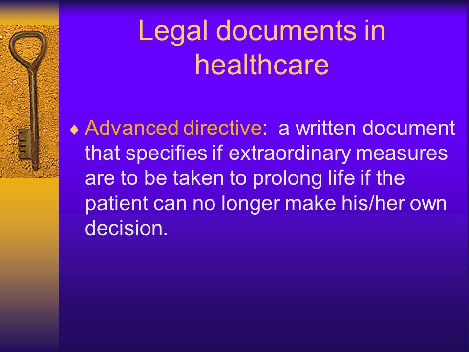Legal documents in healthcare