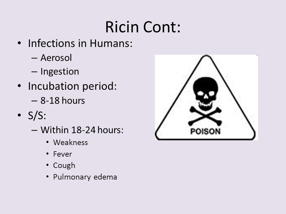 Ricin Cont: Infections in Humans: Incubation period: S/S: Aerosol