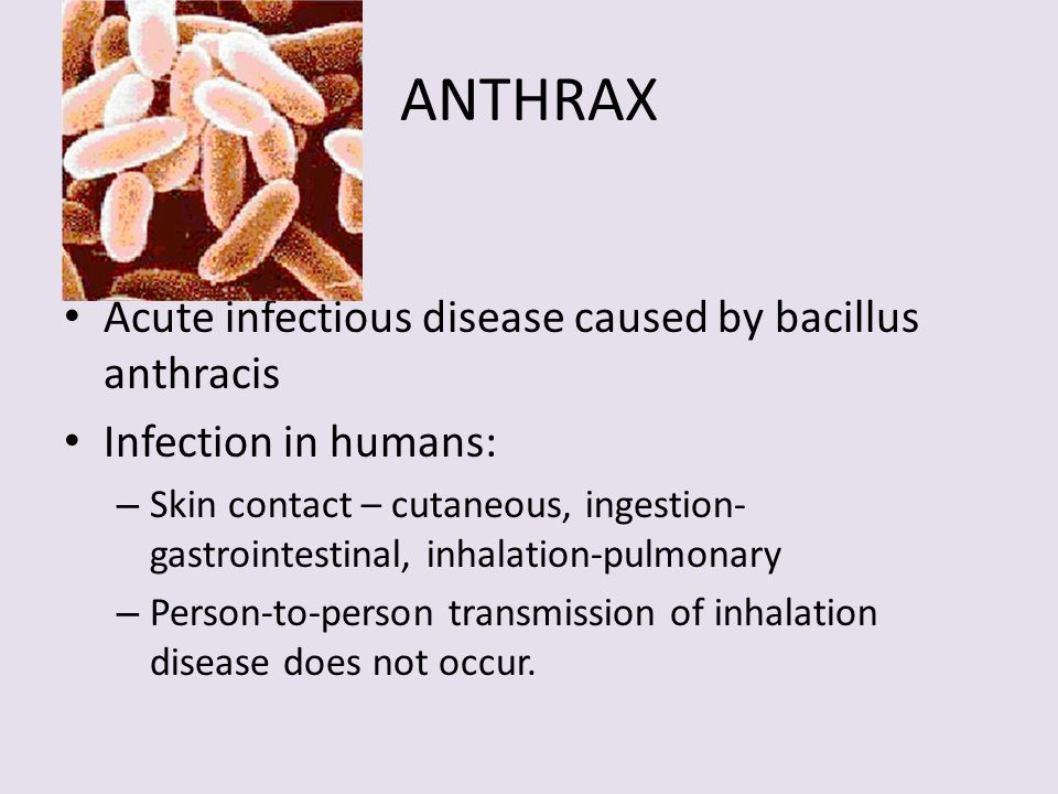 ANTHRAX Acute infectious disease caused by bacillus anthracis