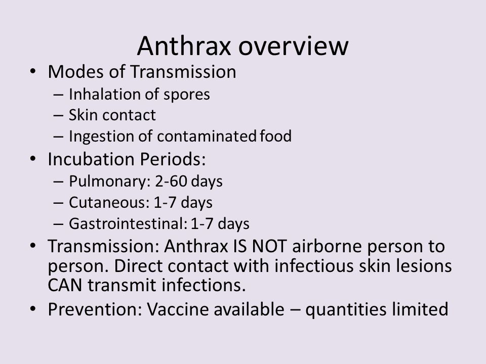 Anthrax overview Modes of Transmission Incubation Periods: