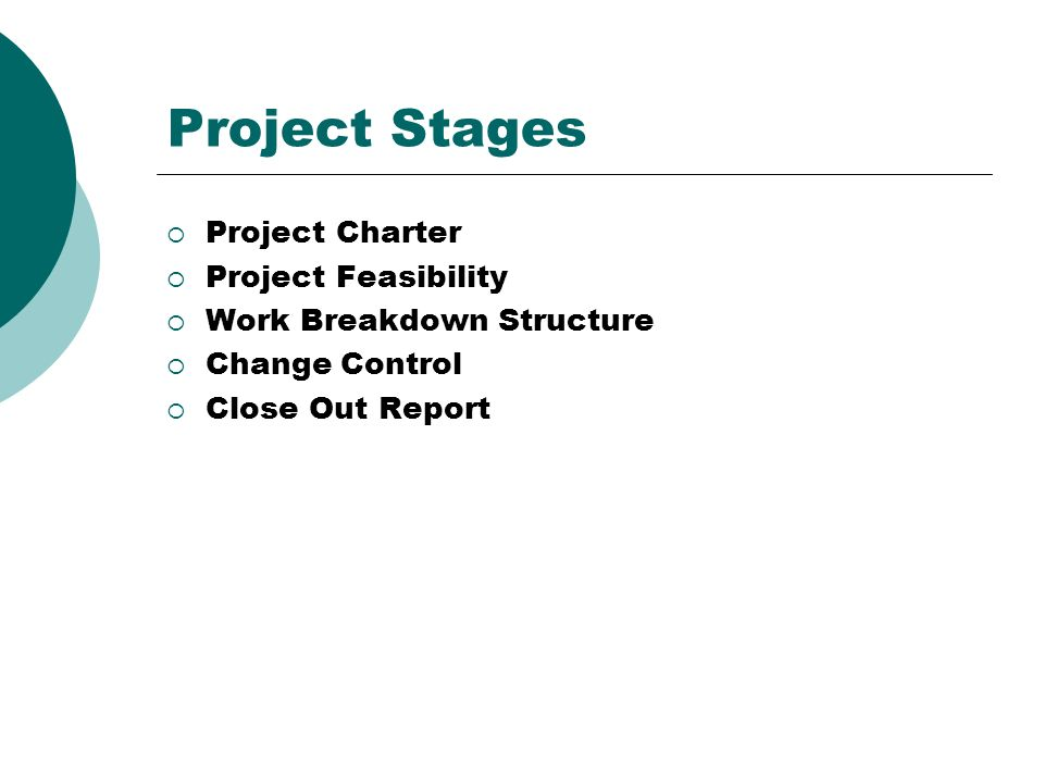 Project Stages Project Charter Project Feasibility