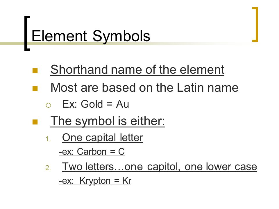 Element Symbols Shorthand name of the element