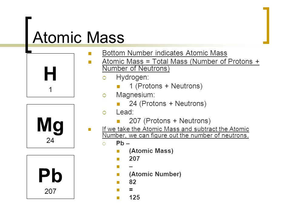The atom and the periodic table ppt video online download h mg pb atomic mass bottom number indicates atomic mass urtaz Images