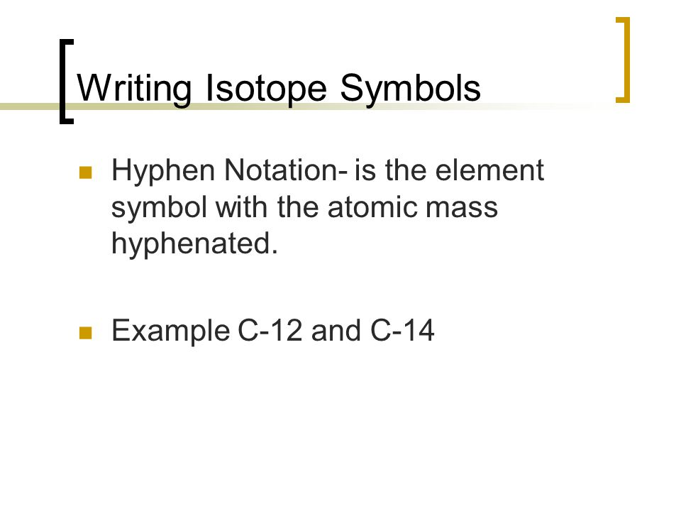 Writing Isotope Symbols