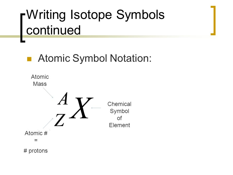 Writing Isotope Symbols continued