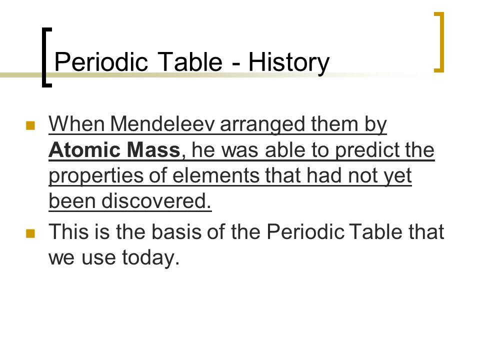 Periodic Table - History