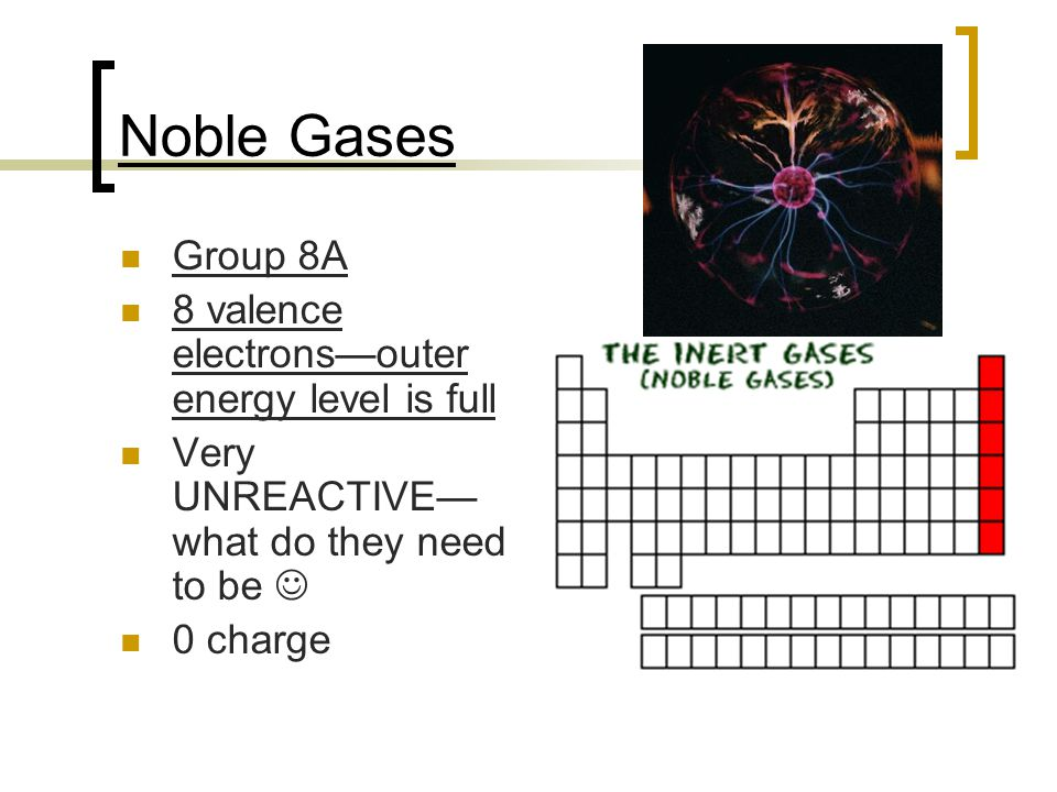 Noble Gases Group 8A 8 valence electrons—outer energy level is full