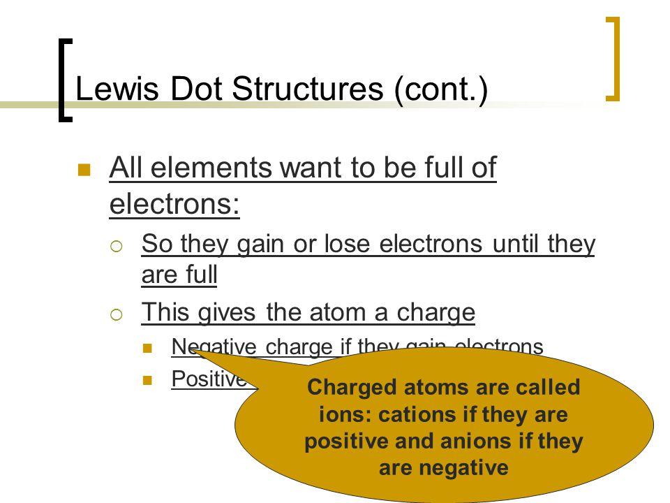 Lewis Dot Structures (cont.)