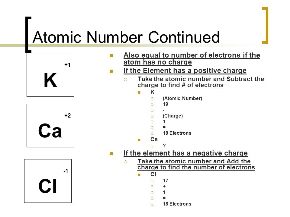 Atomic Number Continued