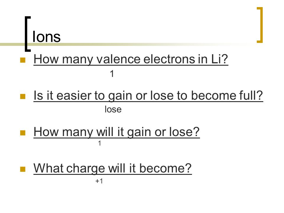 Ions How many valence electrons in Li