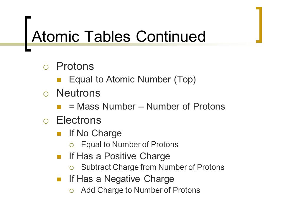 Atomic Tables Continued