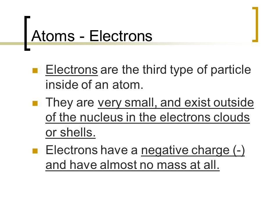 Atoms - Electrons Electrons are the third type of particle inside of an atom.