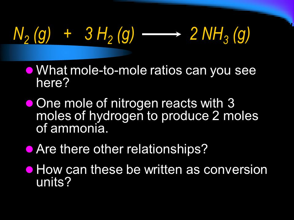 N2 (g) + 3 H2 (g) 2 NH3 (g) What mole-to-mole ratios can you see here