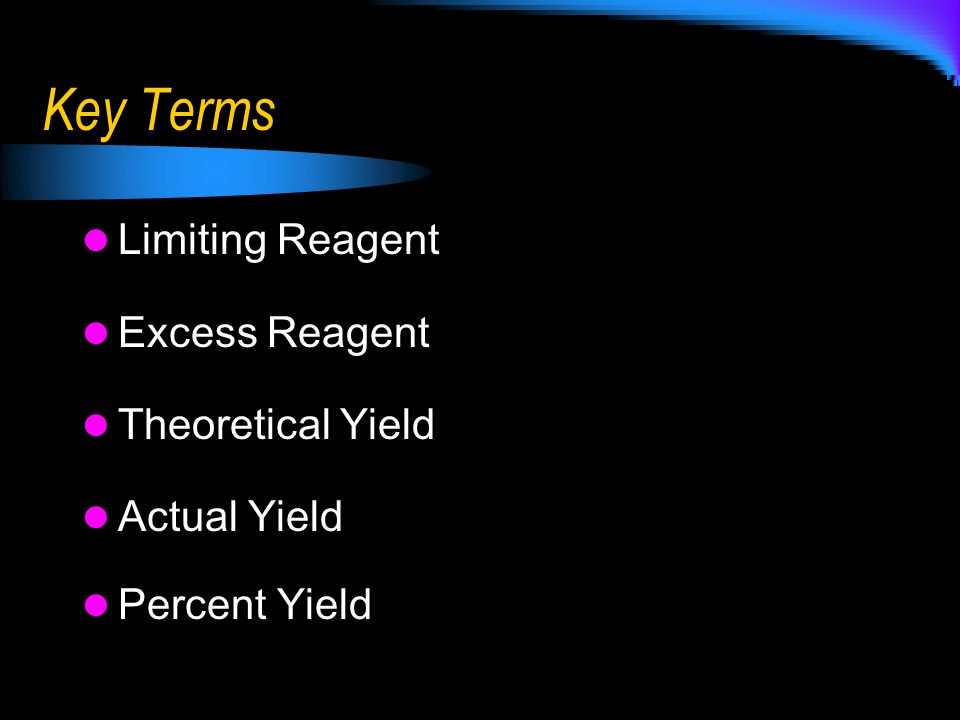 Key Terms Limiting Reagent Excess Reagent Theoretical Yield