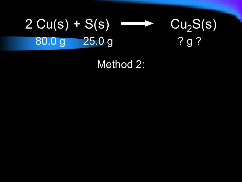 2 Cu(s) + S(s) Cu2S(s) 80.0 g 25.0 g g Method 2:
