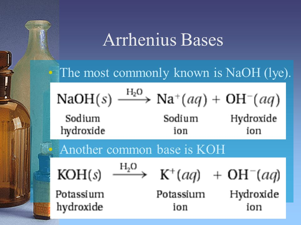 Arrhenius Bases The most commonly known is NaOH (lye).