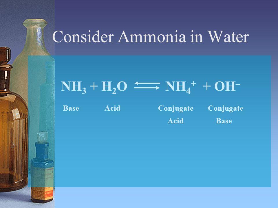 Consider Ammonia in Water