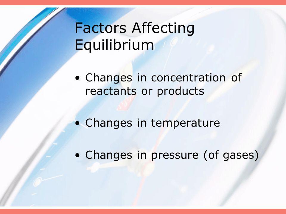 Factors Affecting Equilibrium