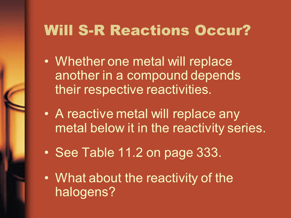 Will S-R Reactions Occur