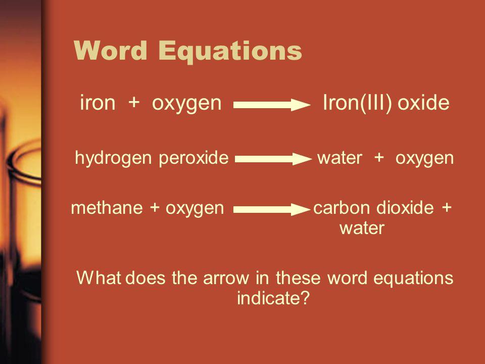 Word Equations iron + oxygen Iron(III) oxide