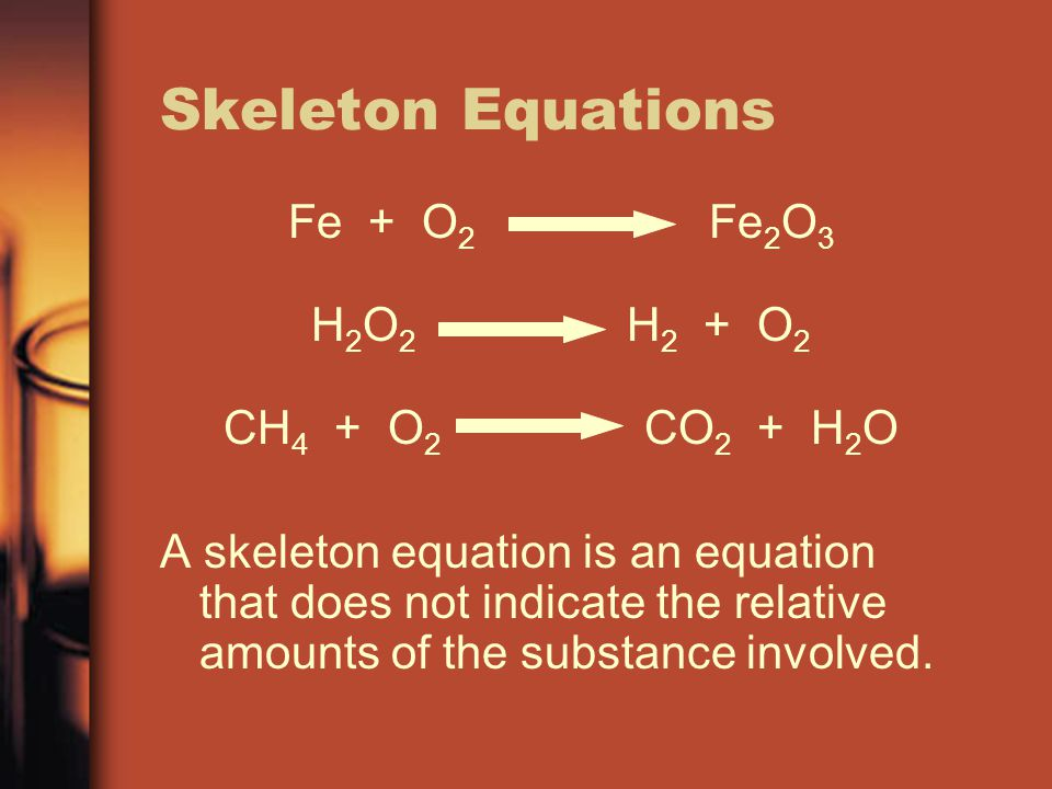Skeleton Equations Fe + O2 Fe2O3 H2O2 H2 + O2 CH4 + O2 CO2 + H2O