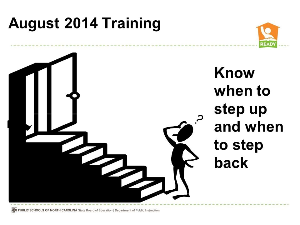 August 2014 Training Know when to step up and when to step back