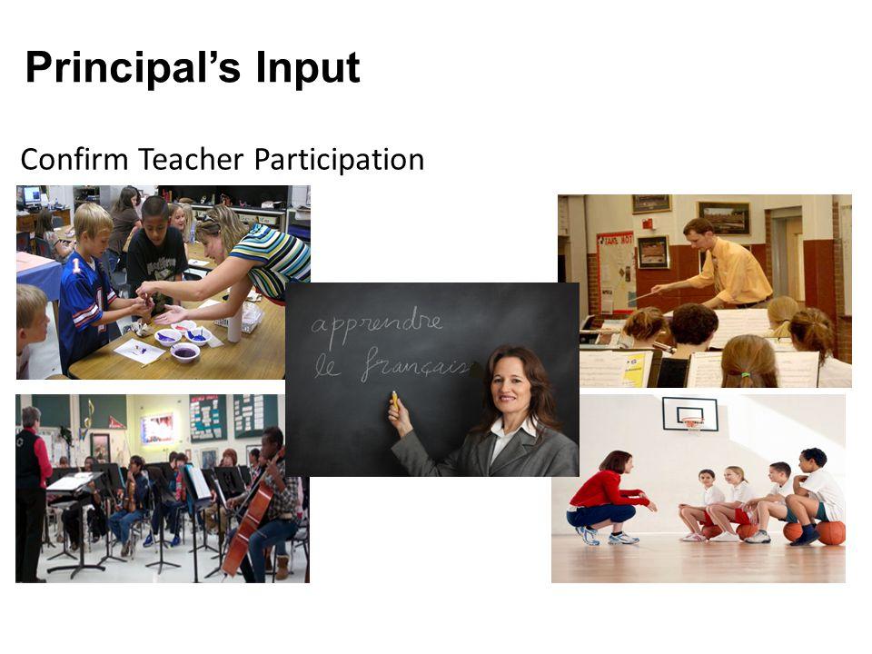Principal's Input Confirm Teacher Participation