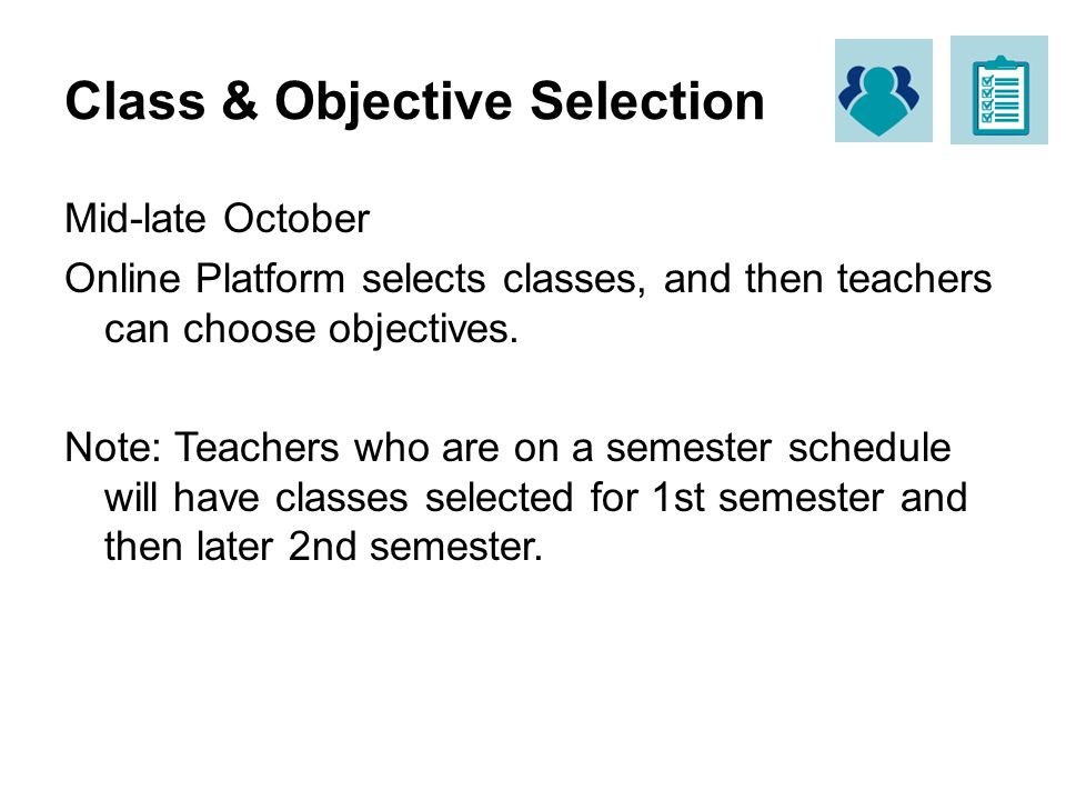Class & Objective Selection