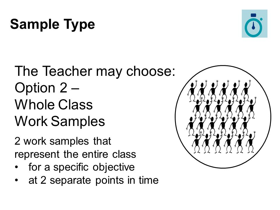 The Teacher may choose: Option 2 – Whole Class Work Samples
