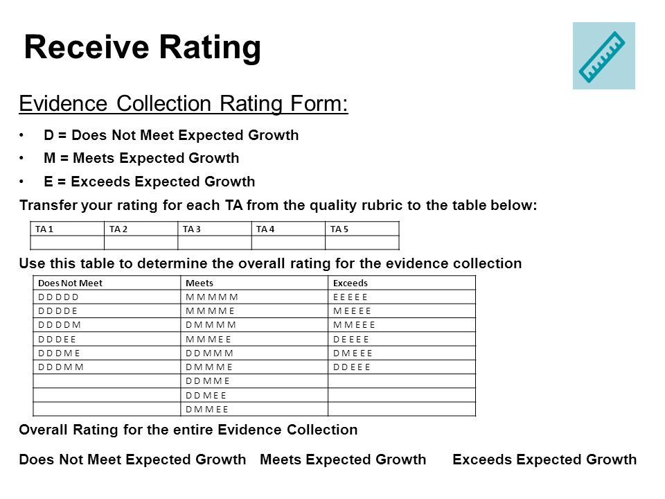 Receive Rating Evidence Collection Rating Form: