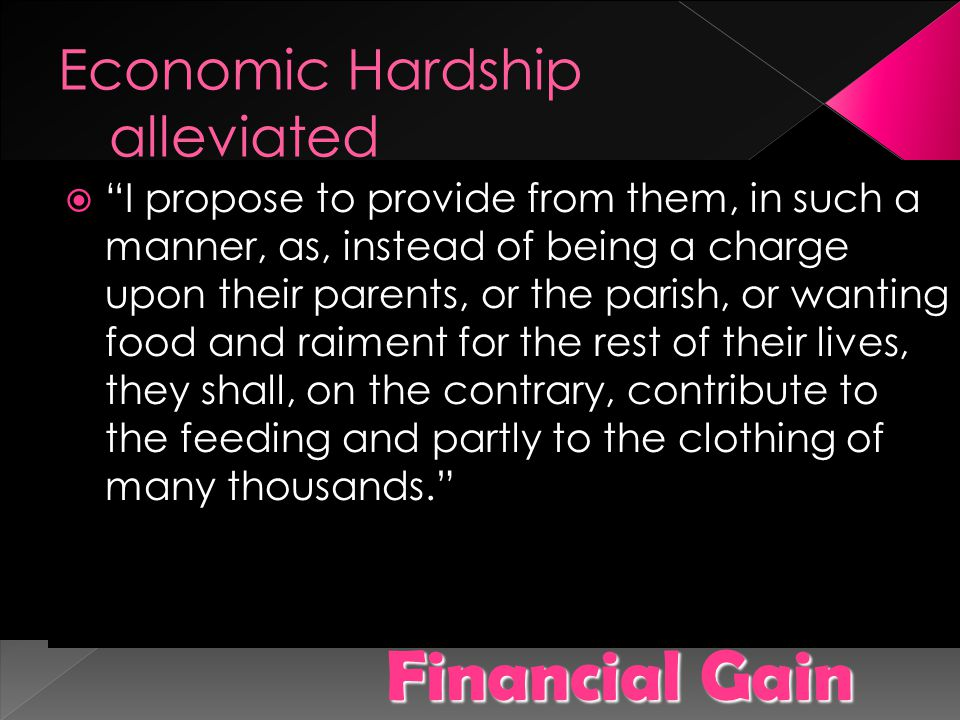 Economic Hardship alleviated