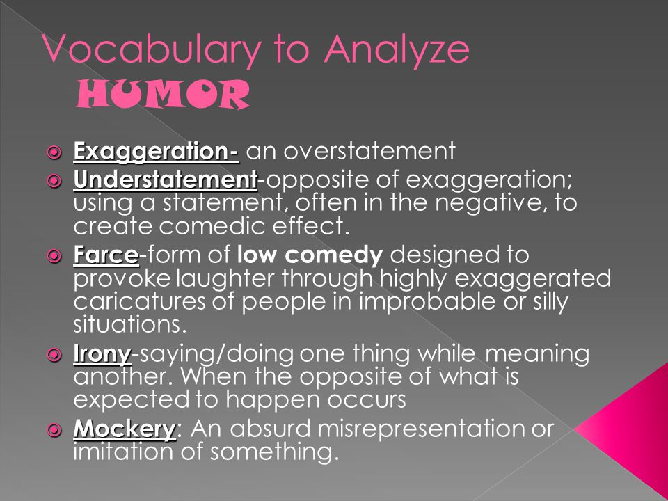 Vocabulary to Analyze HUMOR