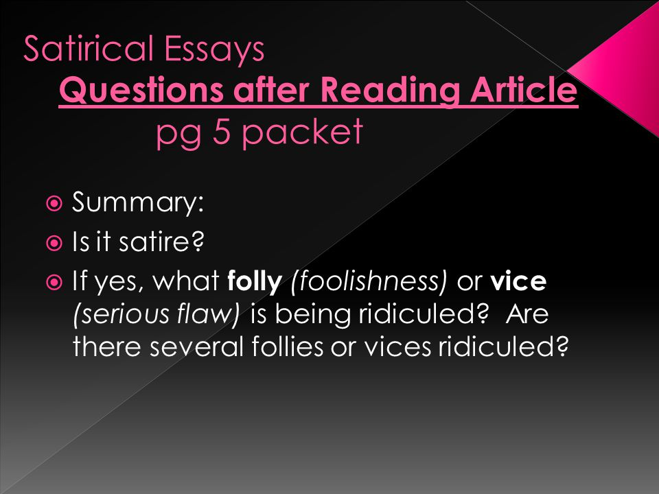 Satirical Essays Questions after Reading Article pg 5 packet