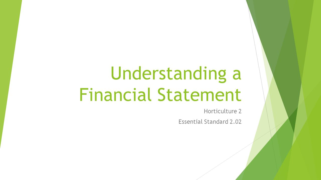 Understanding a Financial Statement