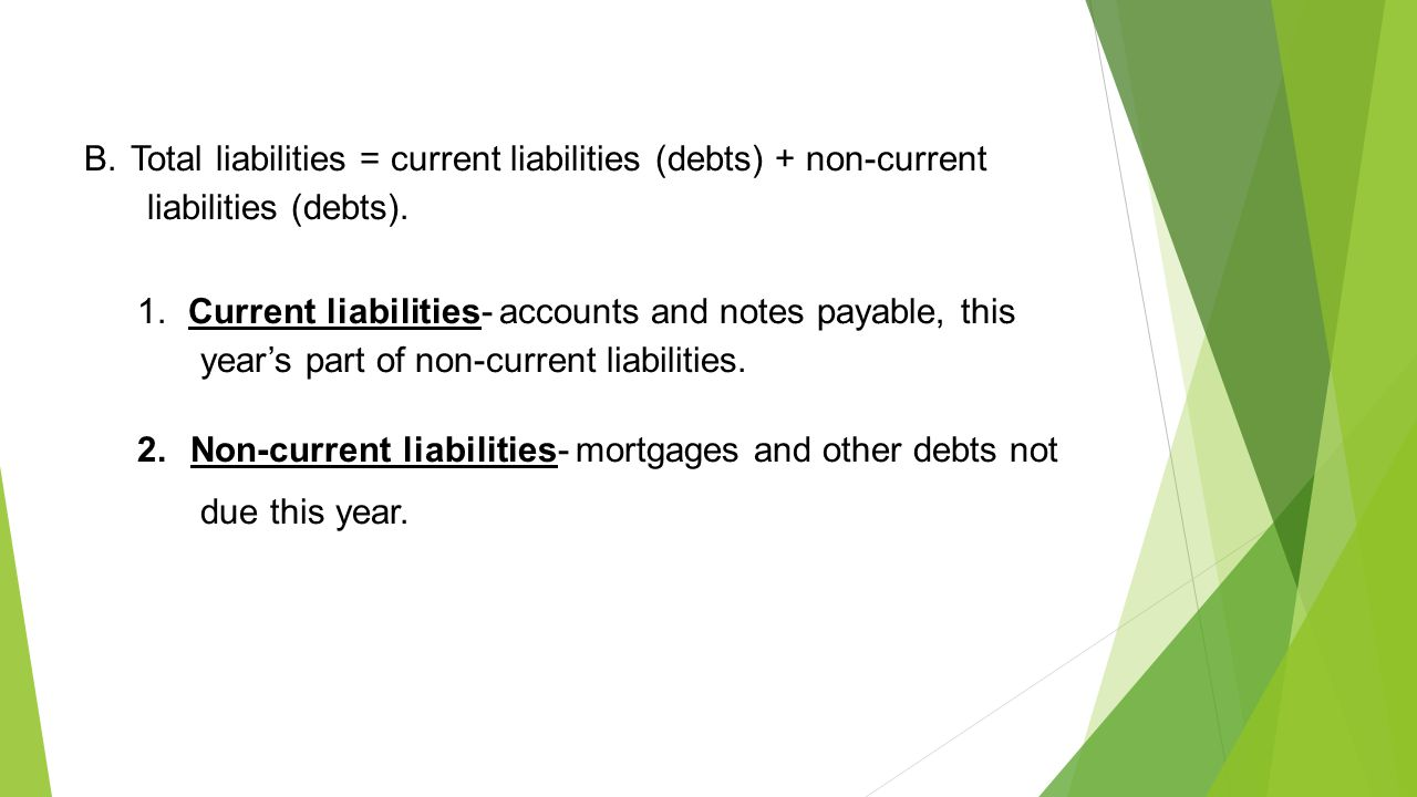 B. Total liabilities = current liabilities (debts) + non-current