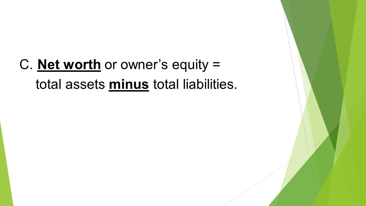 C. Net worth or owner's equity =