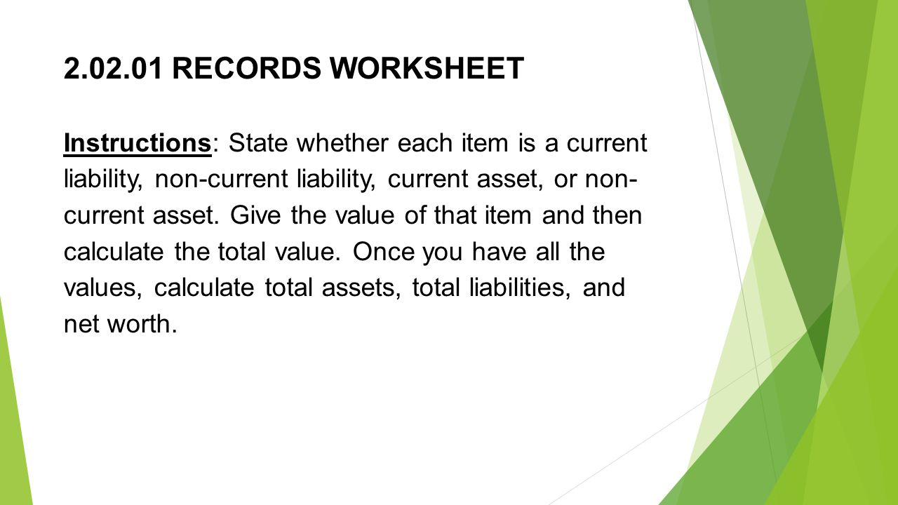 RECORDS WORKSHEET