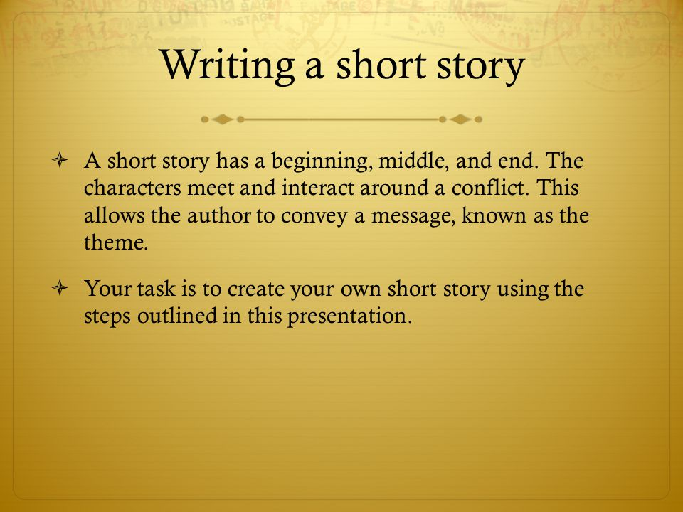 short story theme essay Read short story characteristics free essay and over 88,000 other research documents short story characteristics the short story is a concise form of narrative.