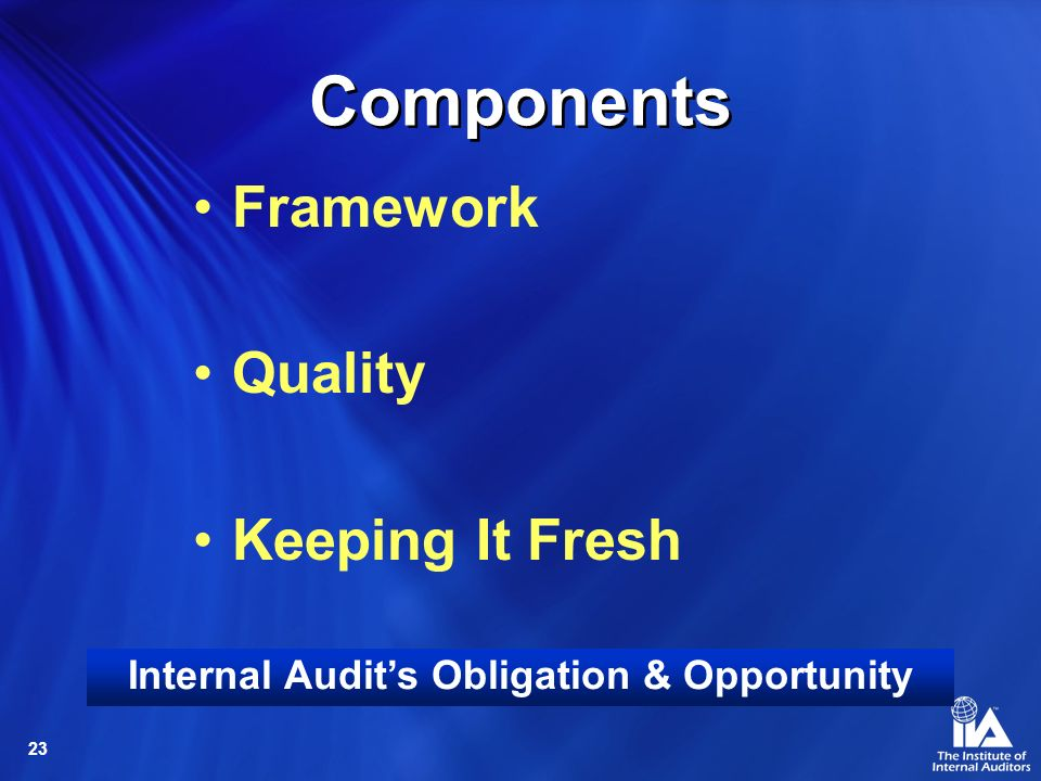 Internal Audit's Obligation & Opportunity