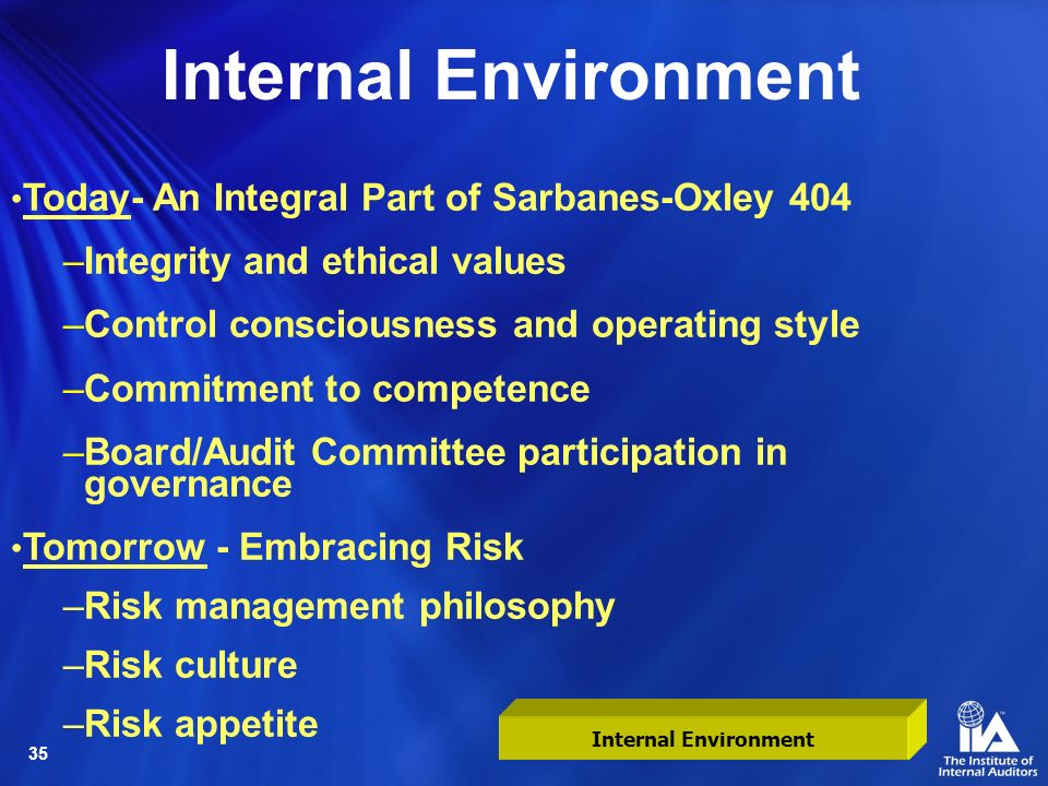 Internal Environment Today- An Integral Part of Sarbanes-Oxley 404