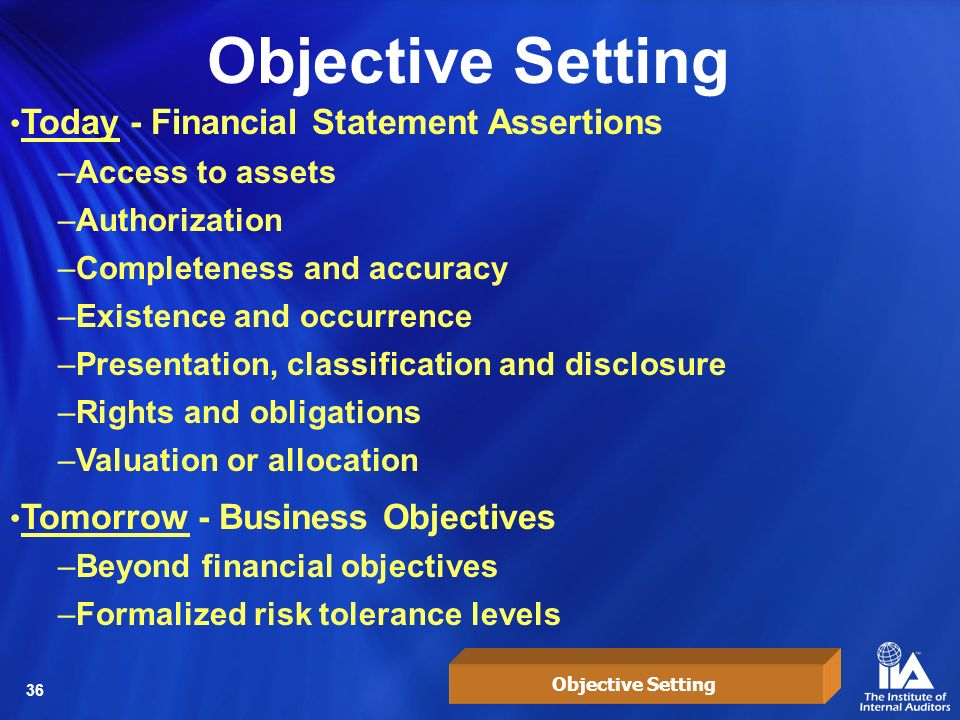 Objective Setting Today - Financial Statement Assertions