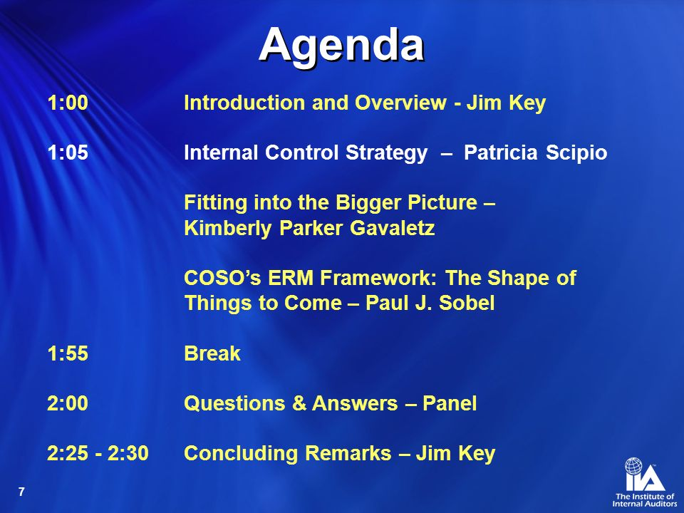 Agenda 1:00 Introduction and Overview - Jim Key