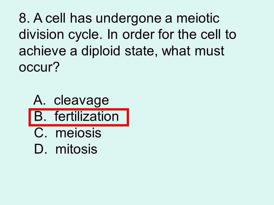 8. A cell has undergone a meiotic division cycle
