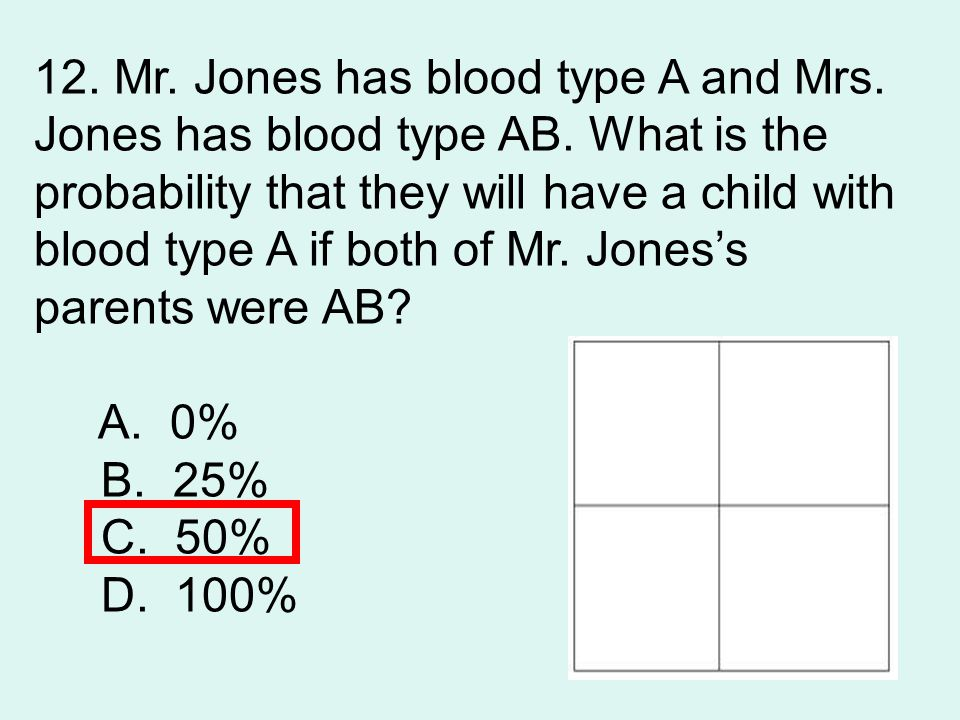 12. Mr. Jones has blood type A and Mrs.