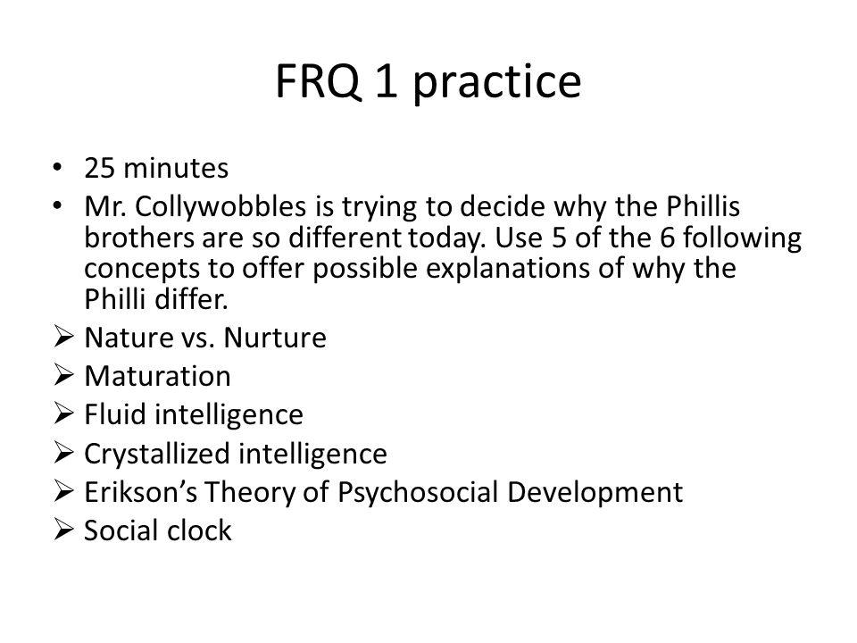 FRQ 1 practice 25 minutes.