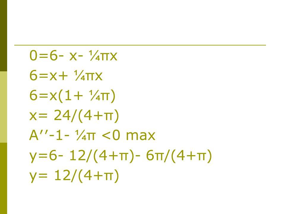 0=6- x- ¼πx 6=x+ ¼πx 6=x(1+ ¼π) x= 24/(4+π) A′′-1- ¼π <0 max y=6- 12/(4+π)- 6π/(4+π) y= 12/(4+π)